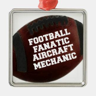 Football Fanatic Aircraft Mechanic Silver-Colored Square Decoration