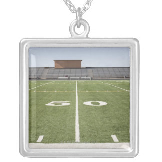 Football field and stadium silver plated necklace