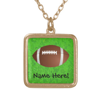 Football Field Junior Varsity Square Pendant Necklace