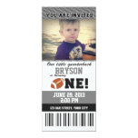Football First Birthday _ GREY/BLACK 10 Cm X 24 Cm Invitation Card