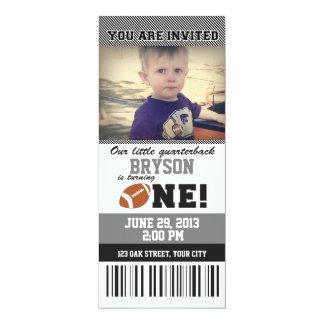 Football First Birthday _ GREY/BLACK 4x9.25 Paper Invitation Card