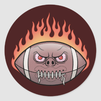 Football - Flames Round Sticker