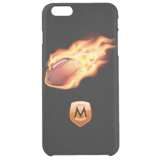Football Flaming Black Customizable Monogrammed Clear iPhone 6 Plus Case