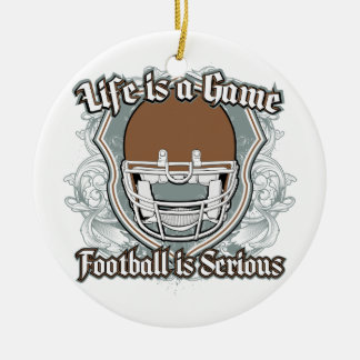 Football Game Brown Round Ceramic Decoration