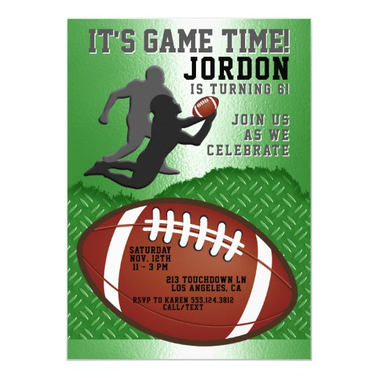 Football Game Time Birthday Party Invitation
