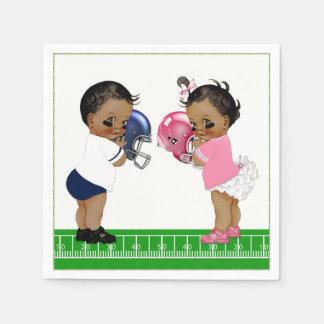 Football Gender Reveal Baby Shower Paper Napkin