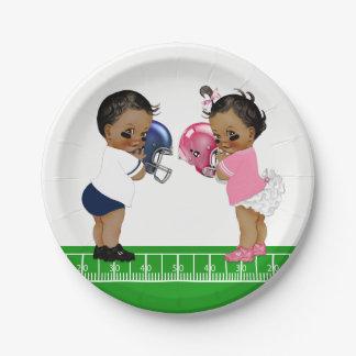 Football Gender Reveal Baby Shower Paper Plates