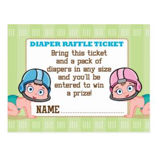 Football Gender Reveal Diaper Raffle Card Postcard