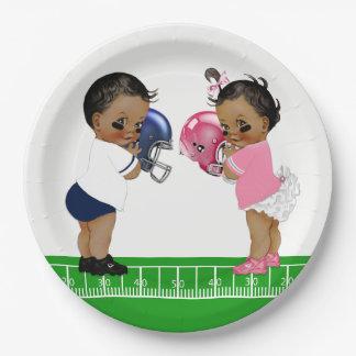 Football Gender Reveal Shower Paper Plates