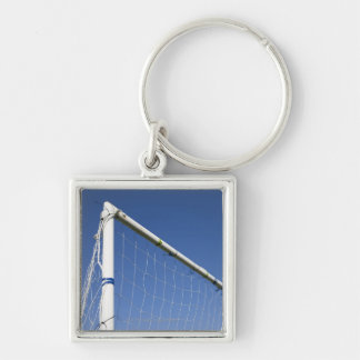 Football goal 2 Silver-Colored square key ring
