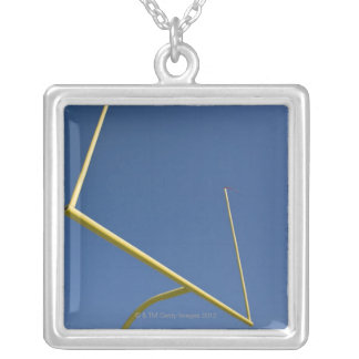 Football Goal Post 2 Silver Plated Necklace