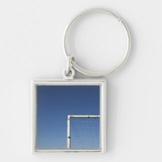 Football Goal Silver-Colored Square Key Ring