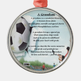 Football   Grandson Poem Silver-Colored Round Decoration