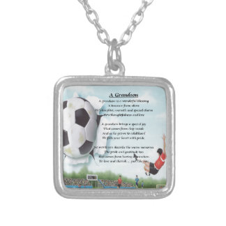 Football   Grandson Poem Silver Plated Necklace