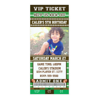 FOOTBALL Green & Brown PHOTO TICKET Invitation
