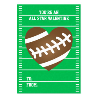 Football Heart Sports Fan Valentine's Day Pack Of Chubby Business Cards