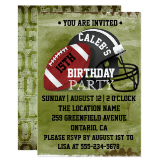 Football & Helmet Birthday Party Invitation