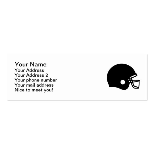Football helmet business cards