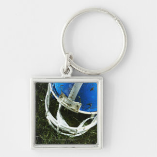 Football Helmet Silver-Colored Square Key Ring