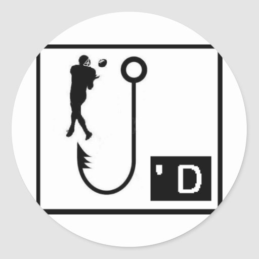 Football Hooked Round Stickers