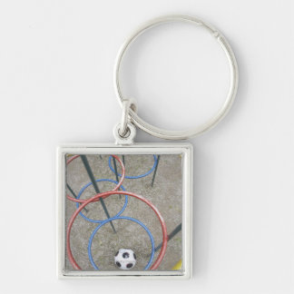 Football in Playground Silver-Colored Square Key Ring