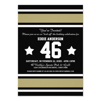 Football Jersey Black|Gold Party Invitations