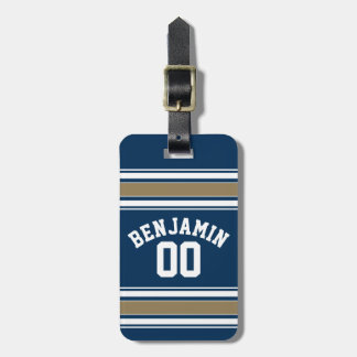 Football Jersey Navy Blue Gold Stripes Name Number Luggage Tags