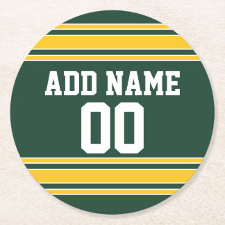 Football Jersey with Custom Name Number Round Paper Coaster