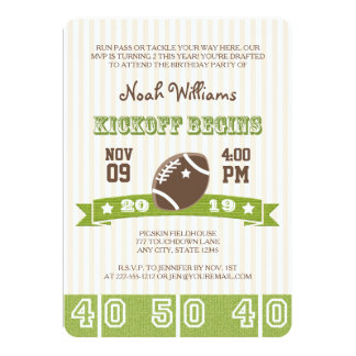 FOOTBALL KICKOFF ANY AGE BIRTHDAY 13 CM X 18 CM INVITATION CARD