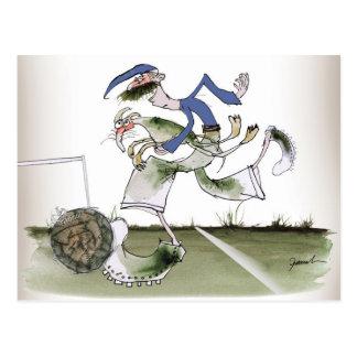 football left wing blue kit postcard