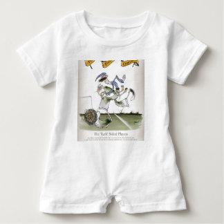 football left wing, blue white kit baby bodysuit