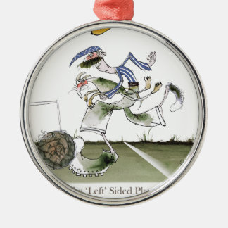 football left wing, blue white kit christmas ornament