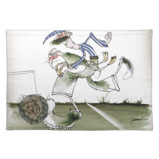 football left wing, blue white kit placemat