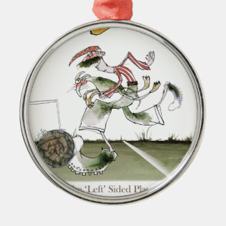 football left wing, red white kit christmas ornament