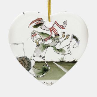 football left wing, red white kit christmas ornament