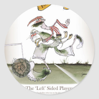 football left wing, red white kit classic round sticker