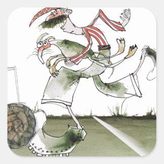 football left wing, red white kit square sticker
