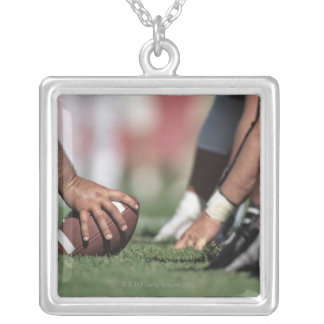Football line of scrimmage silver plated necklace