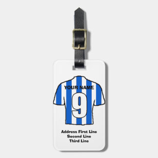 Football Luggage Tag - with Blue & White Shirt