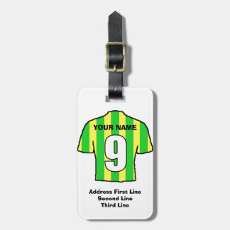 Football Luggage Tag - with Green & Yellow Shirt