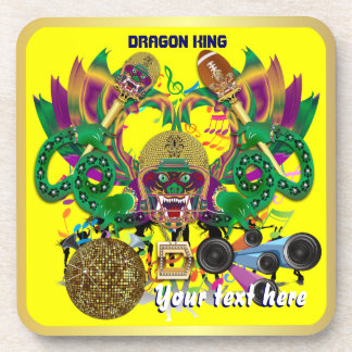Football Mardi Gras Dragon King view notes Please Drink Coasters