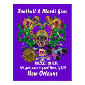 Football Mardi Gras Dragon King view notes Please Postcard