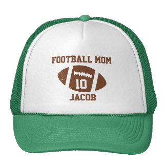 Football Mom Number with Name Brown Trucker Hat