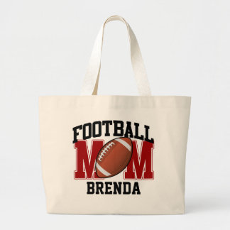Football Mom Personalized (red) Large Tote Bag