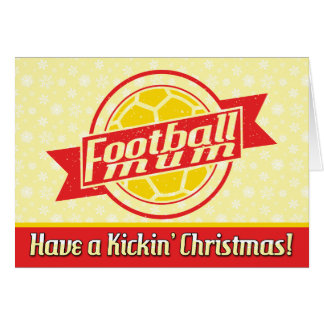 Football Mum Red Christmas Card