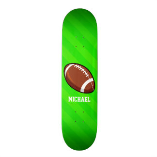 Football; Neon Green Stripes Skate Deck