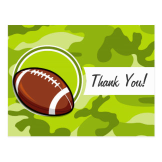Football on bright green camo, camouflage post cards