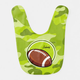 Football on bright green camo camouflage baby bibs