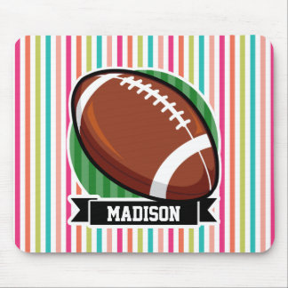 Football on Colorful Stripes Mousepad