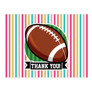 Football on Colorful Stripes Post Cards